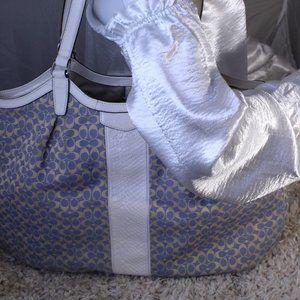 Coach Signature Stripe Chambray Blue Jacquard Bag